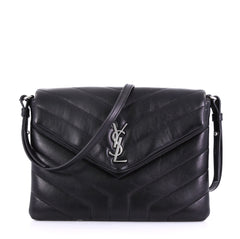 Saint Laurent Model: LouLou Shoulder Bag Matelasse Chevron Leather Small Black 39685/56