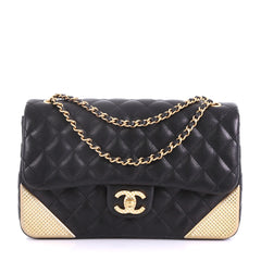 Chanel Rock the Corner Flap Bag Quilted Leather Medium Black