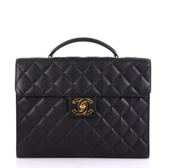 Chanel Vintage CC Briefcase Quilted Caviar Large Black
