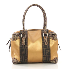Fendi B. Mix Tote Zucca Coated Canvas Medium Brown