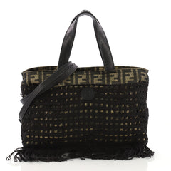 Fendi Vintage Fringe Convertible Tote Zucca Canvas with Woven Net