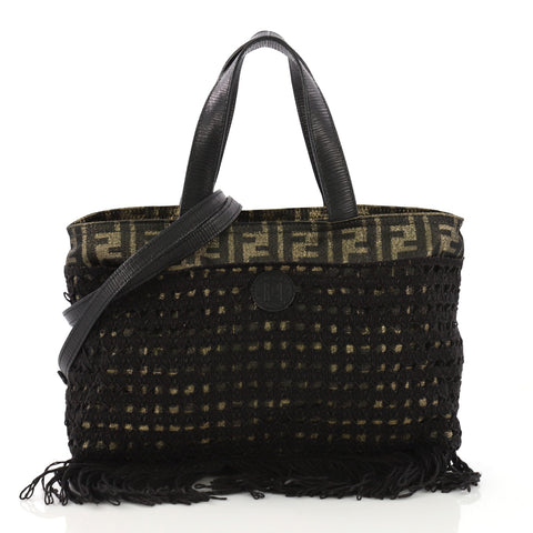 3137b114f2d6 Fendi Vintage Fringe Convertible Tote Zucca Canvas with 3968584 – Rebag