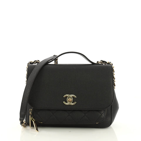 ca34e5870cb6 Chanel Business Affinity Flap Bag Quilted Caviar Small Black 396882 – Rebag