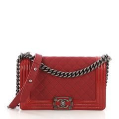 Chanel Boy Flap Bag Quilted Goatskin with Patent Old Medium Red 39693/1