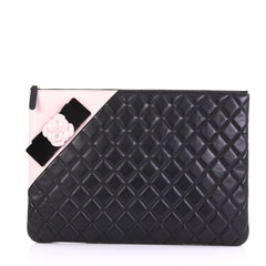 Chanel Camellia O Case Clutch Quilted Lambskin Large Black 397112