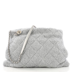 Chanel Shopping Handbag Quilted Knit Pluto Glitter Large SIlver 397113