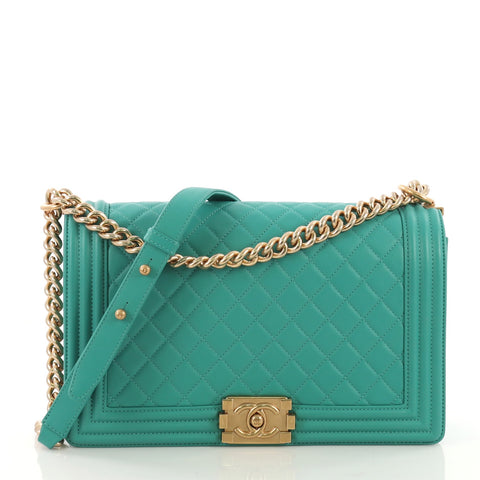 c5a4806c7bfe Chanel Boy Flap Bag Quilted Lambskin New Medium Green 3971145 – Rebag