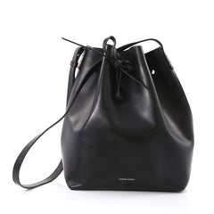 Mansur Gavriel Bucket Bag Leather Large Black 397181