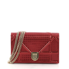 Christian Dior Diorama Flap Bag Cannage Embossed Calfskin Red 397251