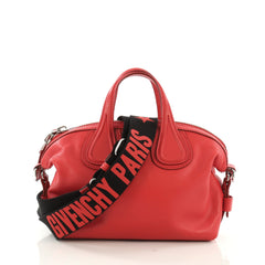 Givenchy Nightingale Satchel Waxed Leather Mini Red 397421