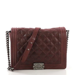 Chanel Boy Flap Bag Quilted Gentle Goatskin New Medium Red 397441