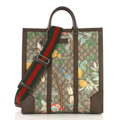 Gucci Web Strap Convertible Tote Tian Print GG Coated Canvas Tall Brown 397472