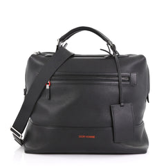 Christian Dior Homme Duffle Bag Leather Large Black 397473