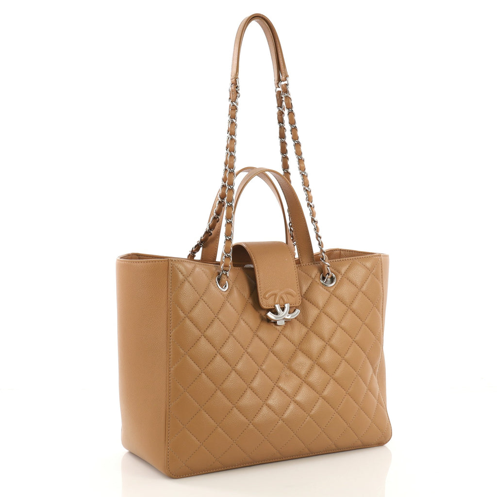 dfc0e48c753c Chanel CC Box Shopping Tote Quilted Caviar Large Brown 397541 – Rebag