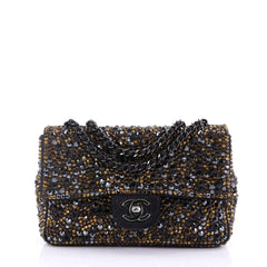 Flap Bag Strass Embellished Suede Small