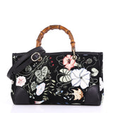 Gucci Bamboo Shopper Tote Flora Canvas Medium Black