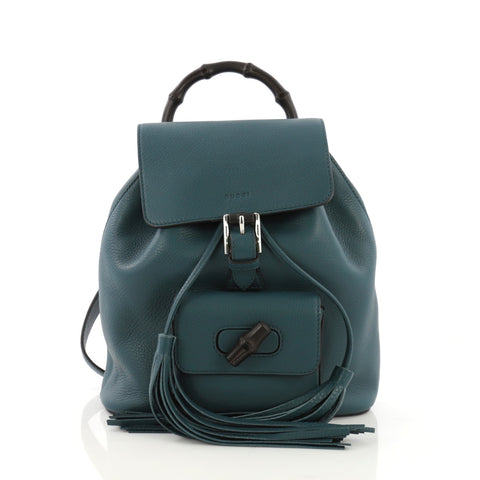 113bb91adaa Gucci Bamboo Tassel Backpack Leather Mini Blue 397663 – Rebag