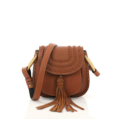 Chloe Hudson Handbag Whipstitch Leather Mini Brown 397681