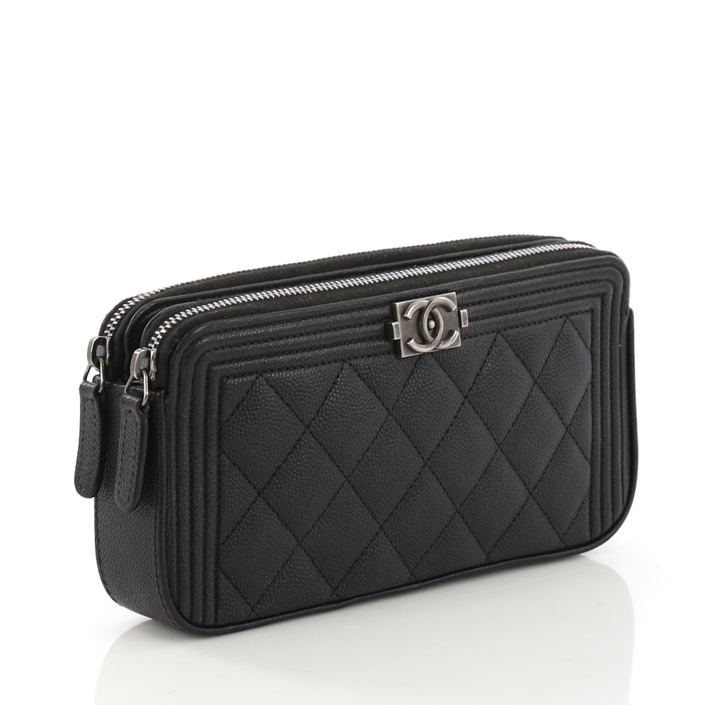 c6052f7887aa Chanel Boy Double Zip Clutch With Chain Quilted Caviar Black 397861
