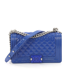 Chanel Boy Flap Bag Quilted Plexiglass Patent Old Medium Blue