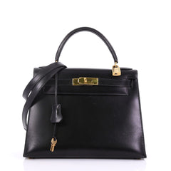 Hermes Kelly Handbag Black Box Calf with Gold Hardware 28 398322