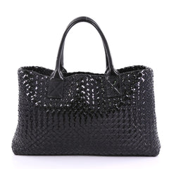 Bottega Veneta Cabat Tote Intrecciato Patent Medium Black 39845/01