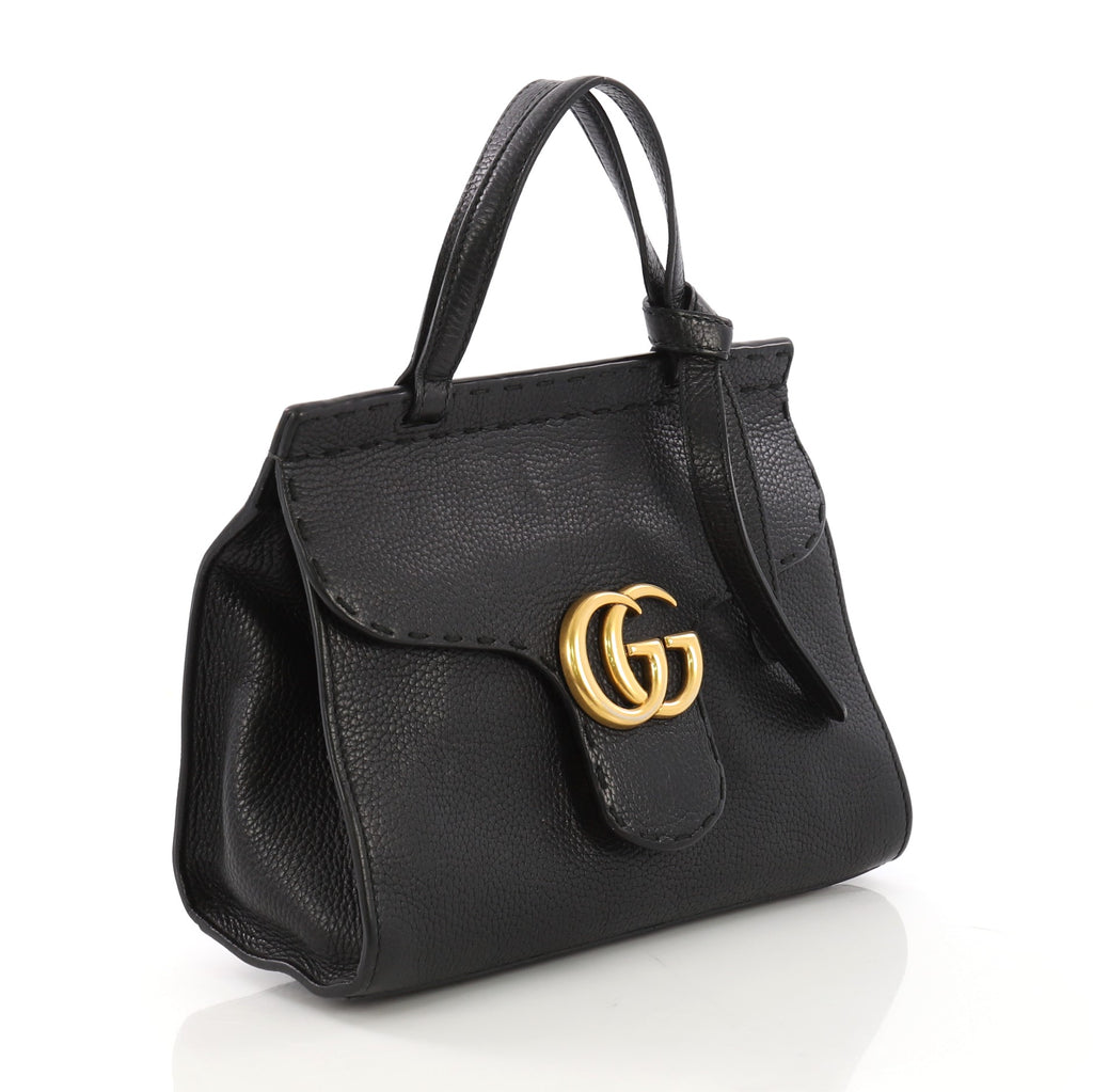 1487b025cce5 Gucci GG Marmont Animalier Top Handle Bag Leather Small 398473 – Rebag