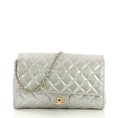 Chanel Clutch with Chain Quilted Pearlescent Calfskin Silver 39879/1