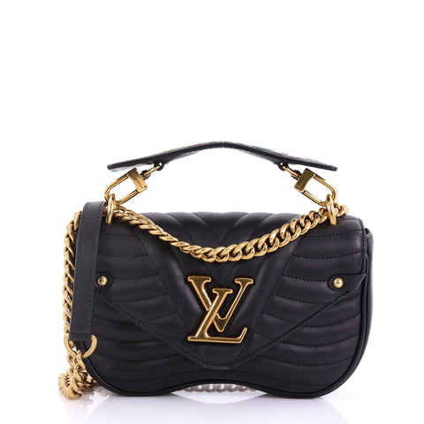 f35d06e79387 Louis Vuitton New Wave Chain Bag Quilted Leather PM Black 398961 – Rebag