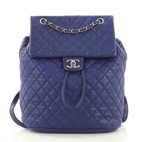 Chanel Urban Spirit Backpack Quilted Lambskin Large Blue – Rebag 9ac2a61d2f2a2