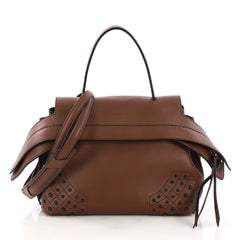 Tod's Studded Convertible Wave Bag Leather Mini Brown