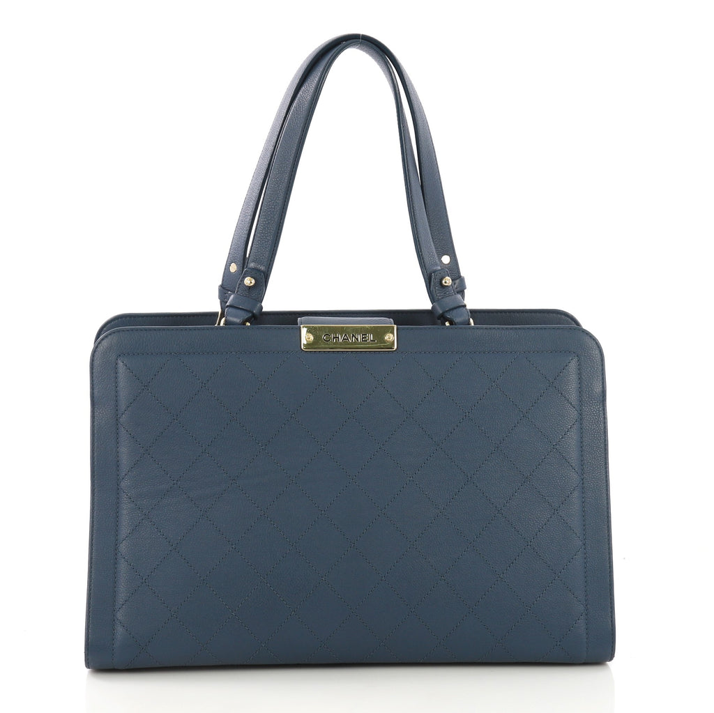 63059fa87bc8 Chanel Label Click Shopping Tote Quilted Calfskin Large Blue 399591 – Rebag