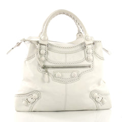 Balenciaga Brief Covered Giant Brogues Handbag Leather White