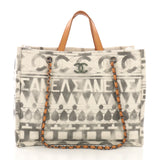 Chanel Iliad Shopping Tote Printed Canvas Medium Neutral 39981/1