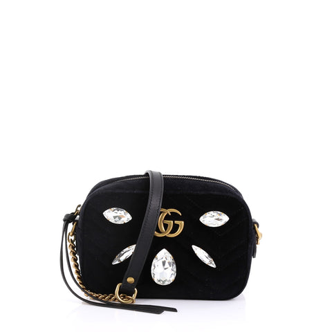 7dd497739a2fbb Gucci GG Marmont Shoulder Bag Crystal Embellished Matelasse 3998201 – Rebag