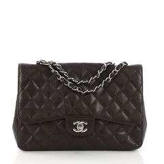 Chanel Vintage Classic Single Flap Bag Quilted Caviar Jumbo 399841