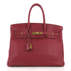 e43e58b19bd2 Hermes Birkin Handbag Red Clemence with Gold Hardware 35 Pink