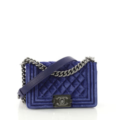 Chanel Boy Flap Bag Quilted Velvet Small Blue