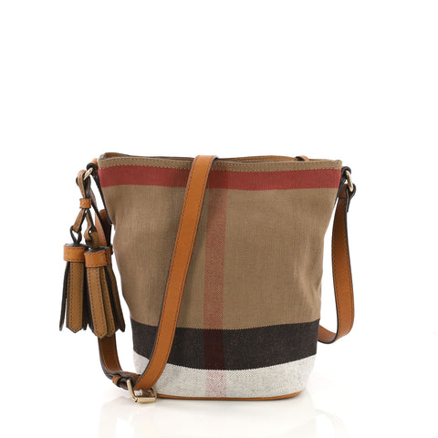 f59074d84bae Burberry Ashby Handbag House Check Canvas Mini Brown 400179 – Rebag