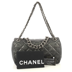 Chanel Pondichery Flap Bag Quilted Aged Calfskin Small Gray