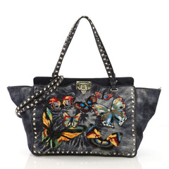 Valentino Rockstud Tote Denim with Butterfly Applique Small Blue 40048/01
