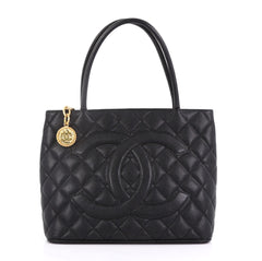 Chanel Medallion Tote Quilted Caviar Black