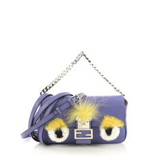 Fendi Monster Baguette Leather and Fur Micro Purple