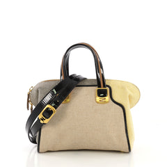 Fendi Chameleon Convertible Satchel Canvas Mini Yellow