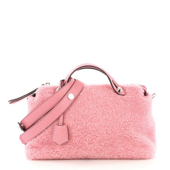 Fendi By The Way Satchel Shearling Small Pink