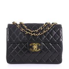 a13bf71d6193 Chanel Vintage Classic Single Flap Bag Quilted Lambskin Jumbo Black