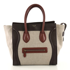 Celine Luggage Handbag Canvas and Leather Mini Brown