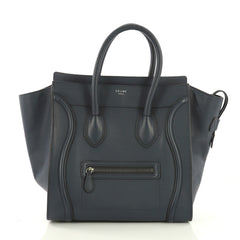 Celine Luggage Handbag Grainy Leather Mini Blue 40066175