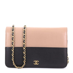 Chanel Bicolor Wallet on Chain Leather Black