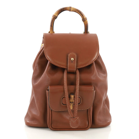 950cd1e28c0 Gucci Vintage Bamboo Backpack Leather Mini Brown 40066187 – Rebag